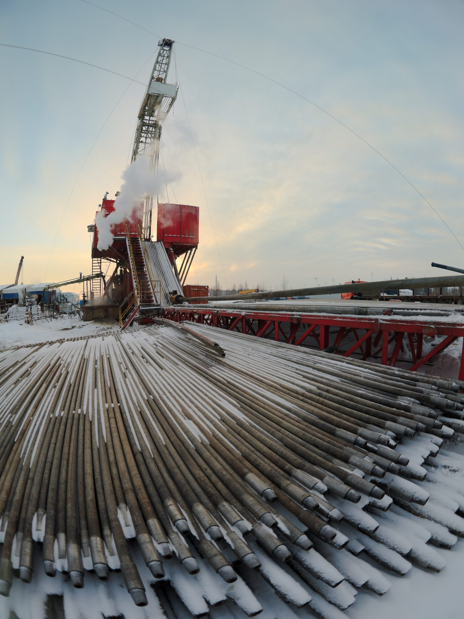 Oil Rig And Pipes In Frosty Cold Weather