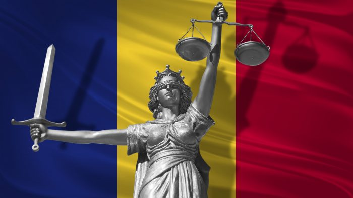 Cover About Law. Statue Of God Of Justice Themis With Flag Of Romania Background. Original Statue Of Justice. Femida, With Scale, Symbol Of Justice With Romania Flag,3d Rendering.