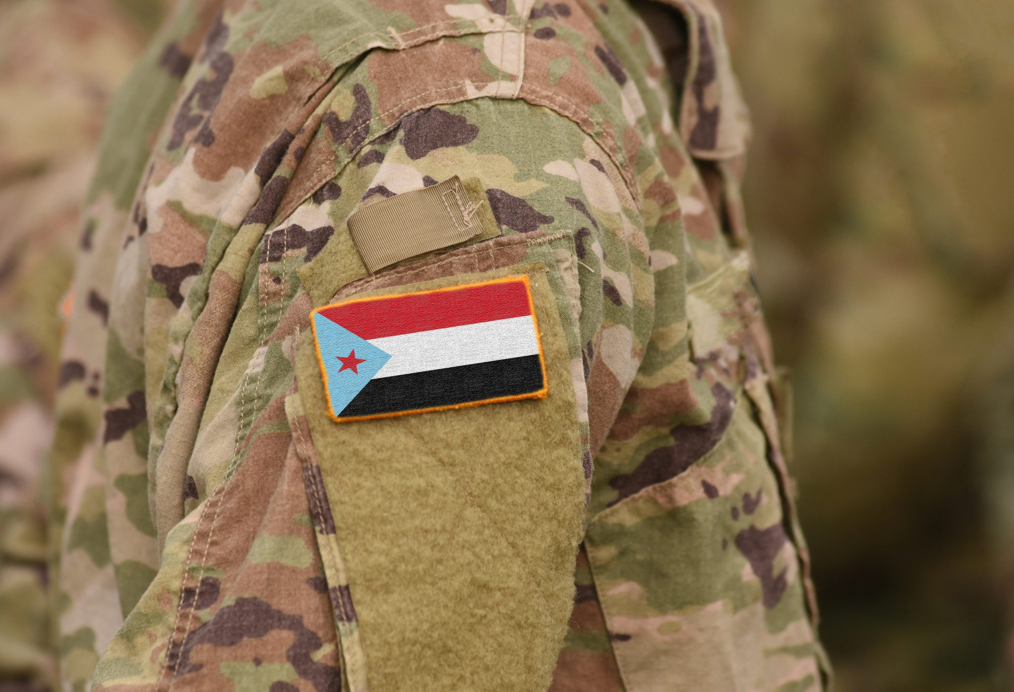 Flag Of Southern Movement, Sometimes Known Of South Yemen Movement On Military Uniforms. (collage).
