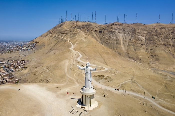 Aerial View Of The Monument Of Cristo Del Pacifico Made By Odebrecht