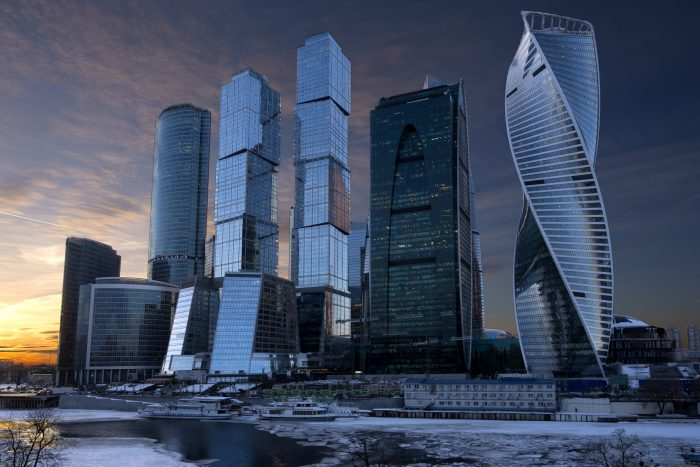 Moscow Skyscrapers At Sunset.