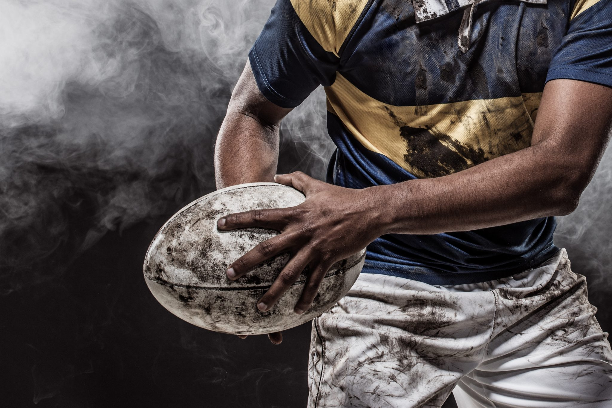 A Bloody Muddy Rugby Player
