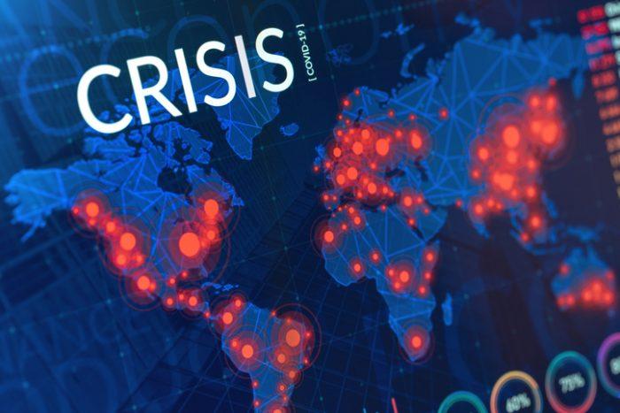 Crisis Of Economy / Financial / Healthcare. Coronavirus Covid 19 Map Of Infected Regions On Digital Display.