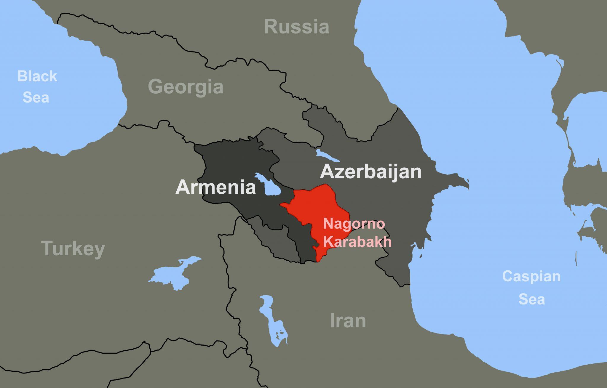 Armenia Azerbaijan Conflict In Nagorno Karabakh On Outline Map