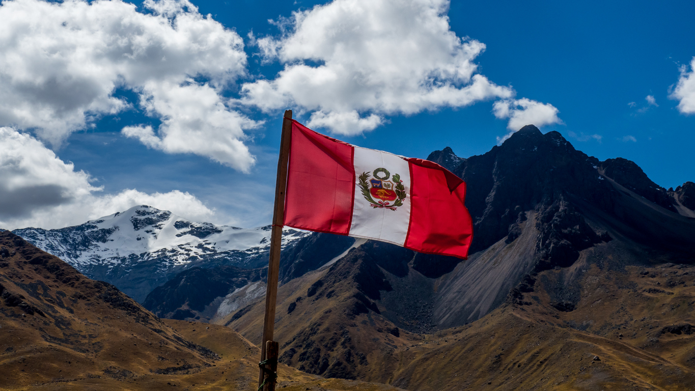 Peruvian Flag With Mountain Panorama