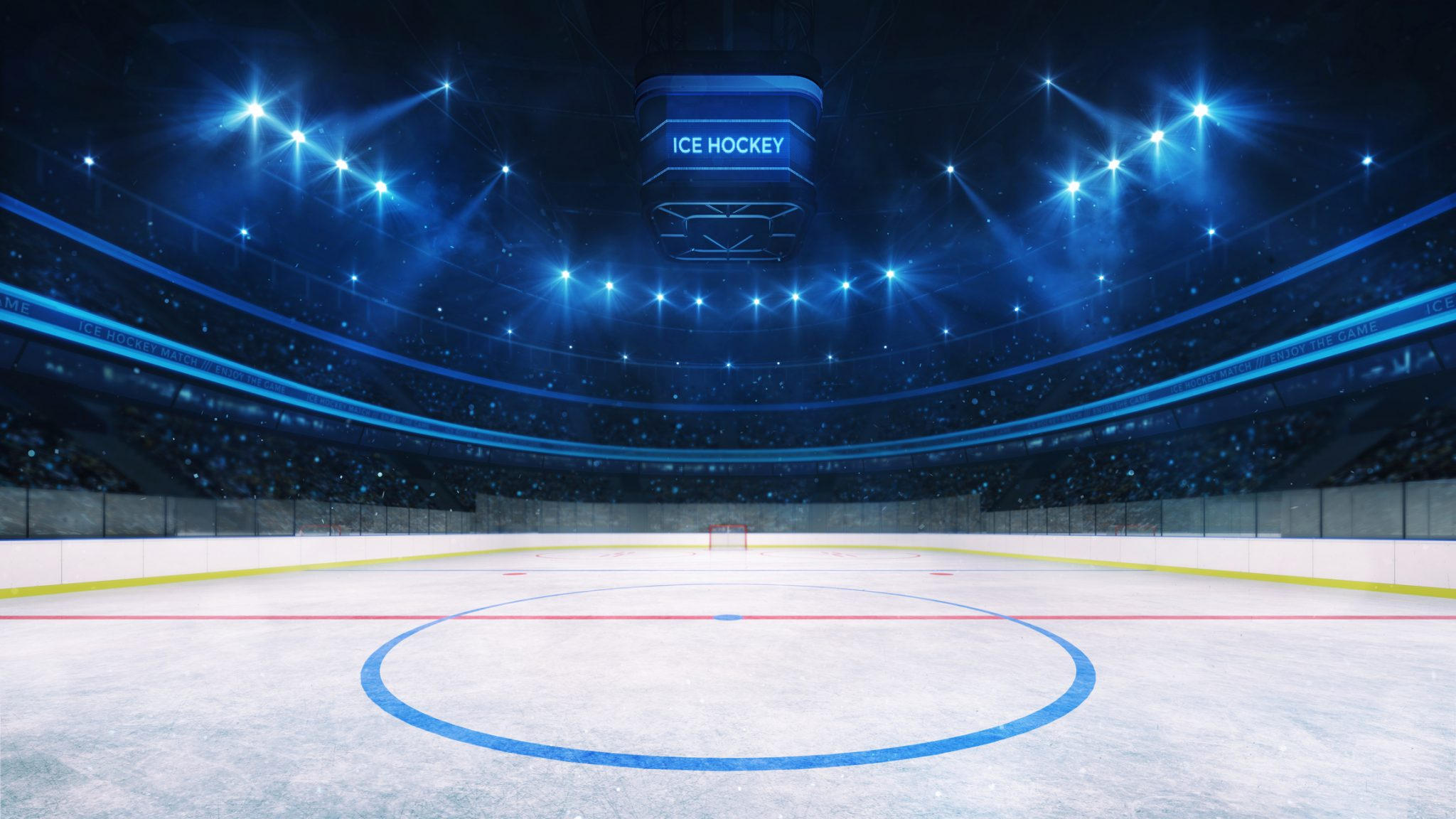 Ice Hockey Rink And Illuminated Indoor Arena With Fans, Middle Circle View
