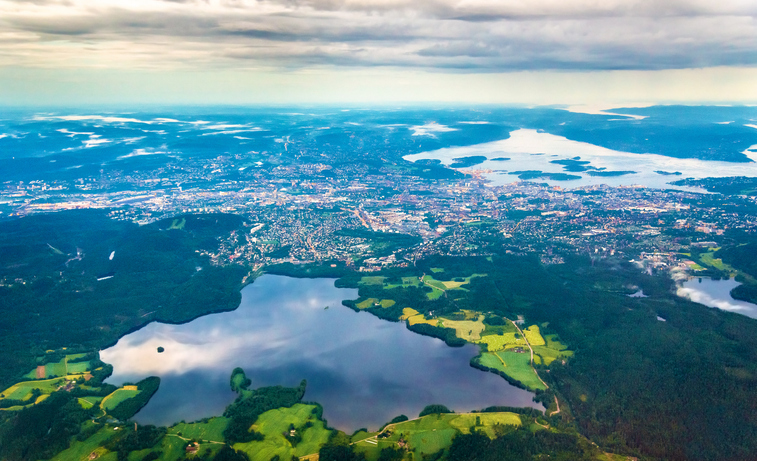 View Of Oslo From An Airplane On The Approach To