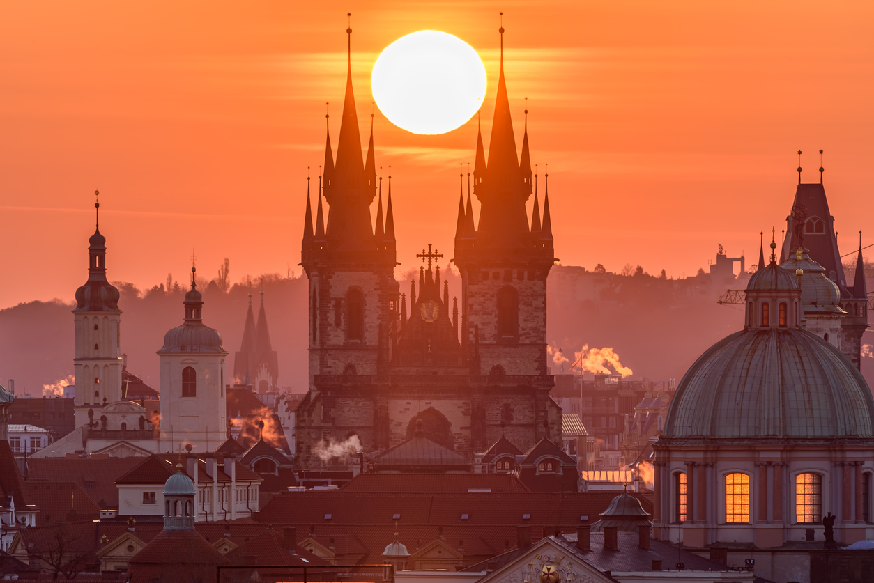 The Sun Sets Up In Between Towers Of The Church Of Our Lady Before Týn In Prague.