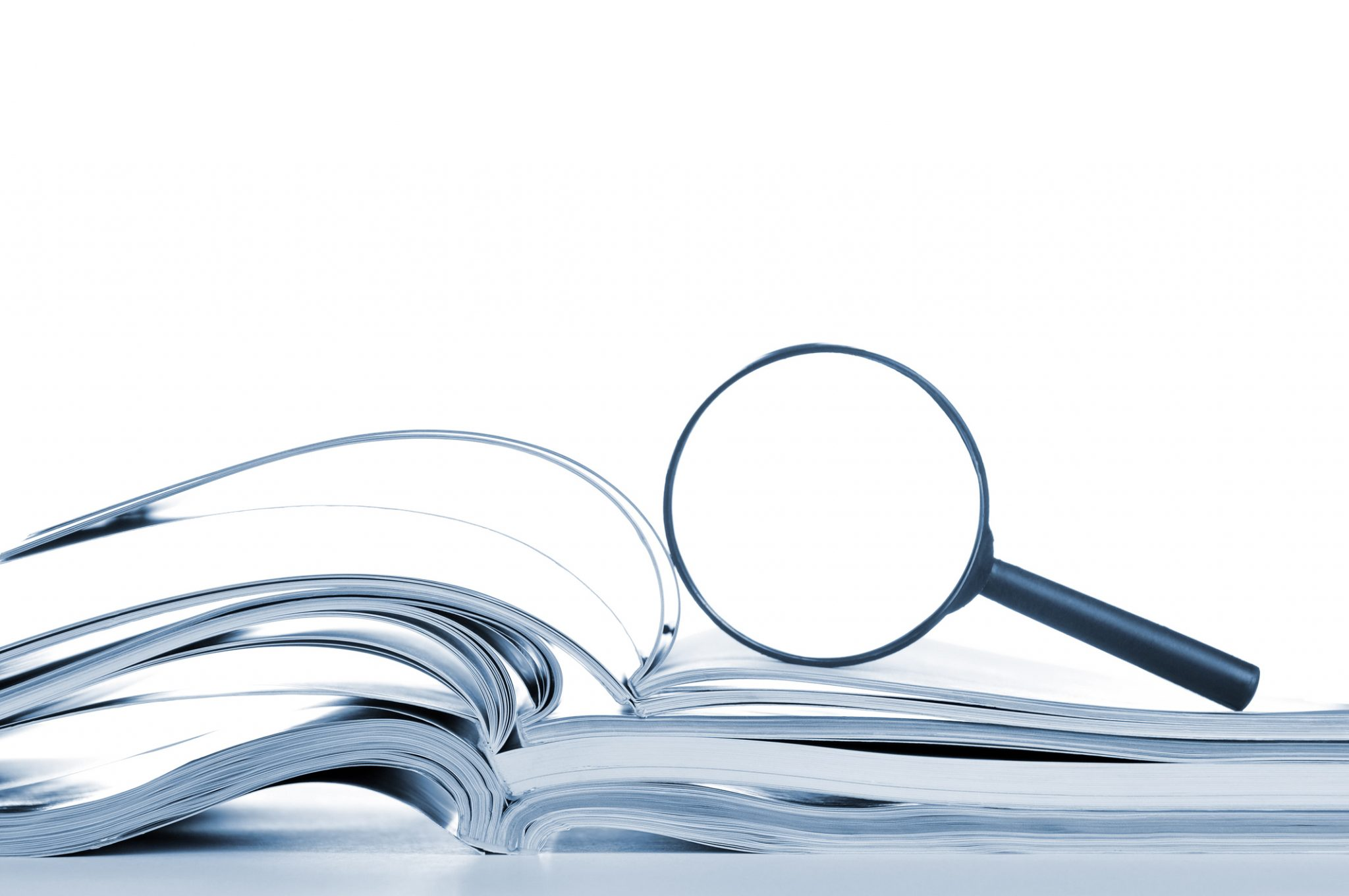 Searching, Opened Magazines And Magnifier Glass, Side View, Isolated White