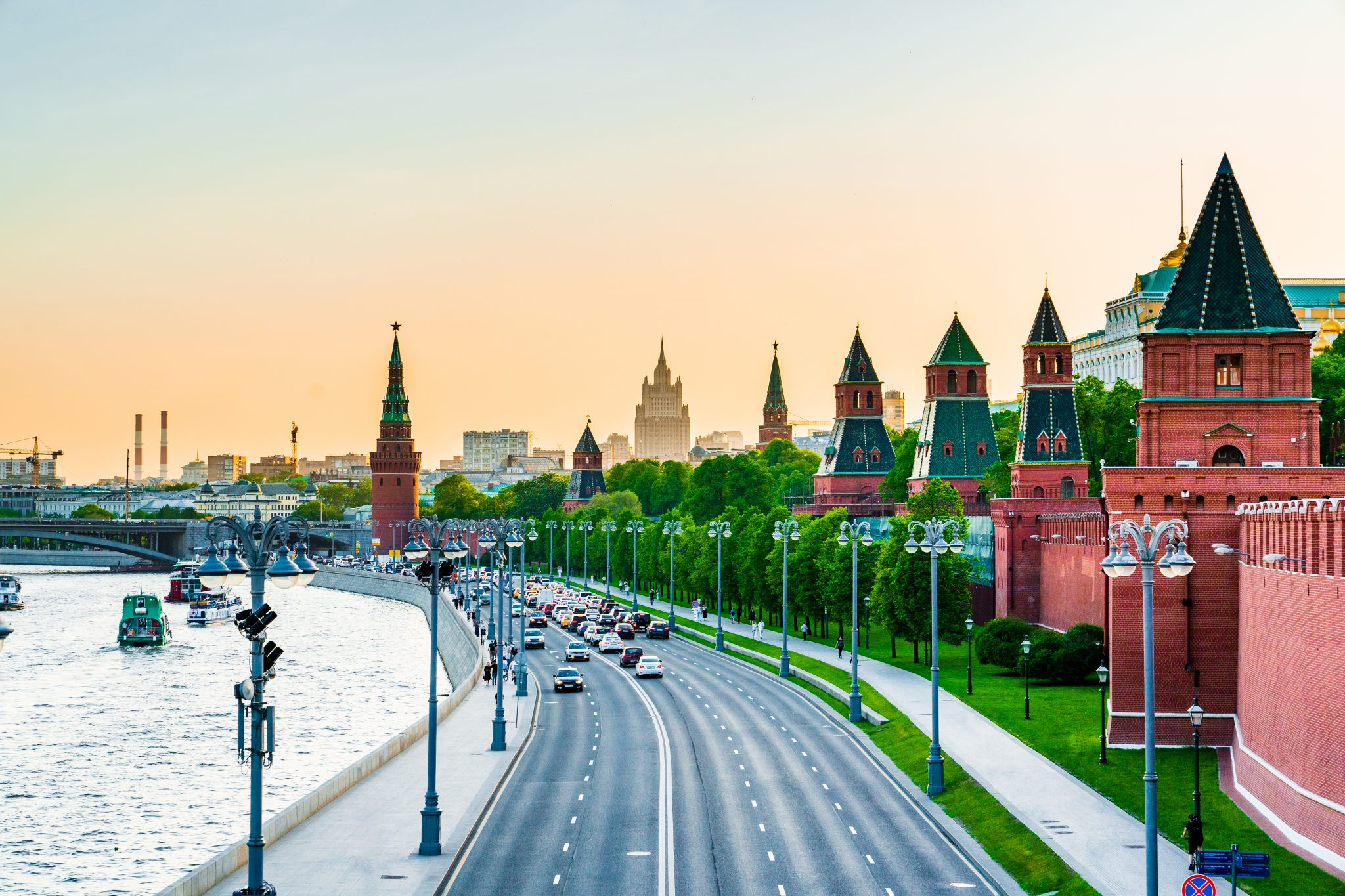The Moscow Kremlin Panorama In Sunset.